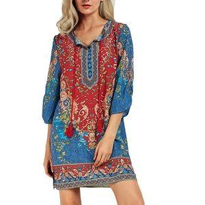 Dresses & Skirts - Bohemian Vintage Printed Sift Dress